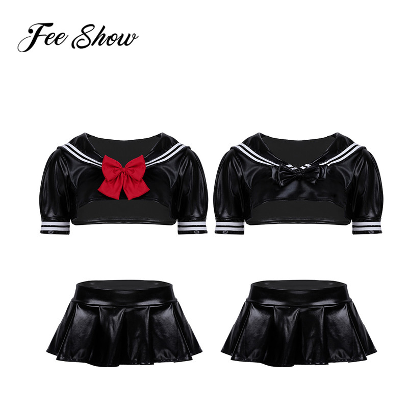 Adult Women PU Leather Sailor School Cosplay Costume Dress Suit Short Sleeve Crop Top with Pleated Mini Skirt G-string & Bowtie