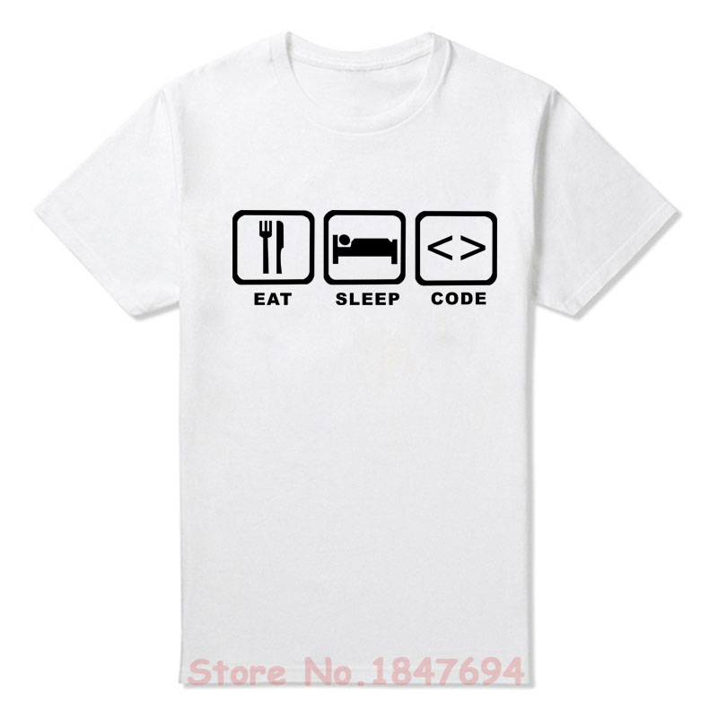 New Summer Style Eat Sleep Code Programming JAVA HTML Comedy T-shirt Funny Programmers T Shirt Men Short Sleeve Top Tees