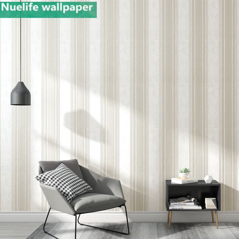 Vertical stripes horizontal pattern European style non-woven wallpaper living room bedroom TV background wall lying wallpaper