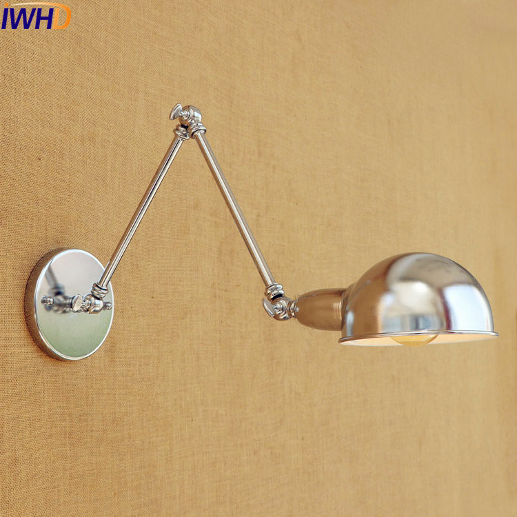 IWHD Silver Retro Vintage Wall Light LED Wandlampen Swing Long Arm Wall Lamp Loft Industrial Lighting Sconce Appliques Murales