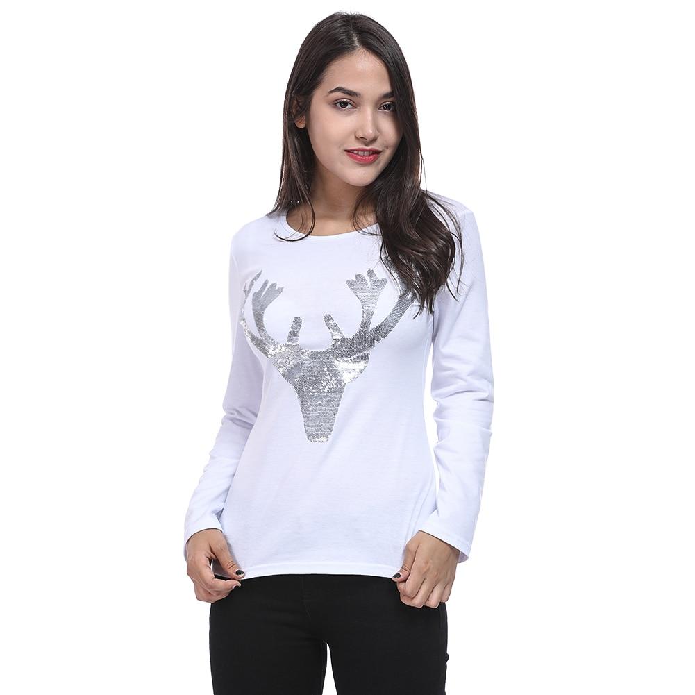 Elk Deer T Shirt 2018 Autumn Long Sleeve Womens T-shirt Fashion Christmas T-Shirt Female Ladies Casual Tops Tees Shirt