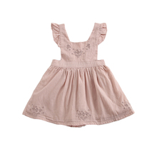 Summer Pretty 2019 Baby Girls Dress Strap Kids Clothes Cotton Wedding Clothing One Piece Pink Elegant For