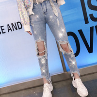0dc55bc68 2019 Spring And Summer Five Pointed Star Hot Diamond Jeans Grinding Hole  Casual Trousers Women High
