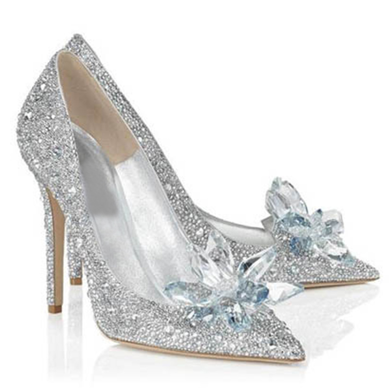 2018 נשים גבוהה עקבים נעלי חתונה קריסטל סינדרלה פגיון נעלי ריינסטון פלטפורמת משאבות