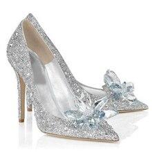 2018 mujeres tacones altos zapatos de boda de cristal Cenicienta zapatos  del estilete plataforma Rhinestone bombas a743576cd13c