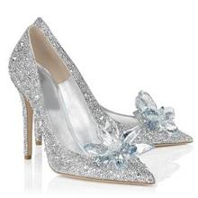 2018 Women High Heels Wedding Shoes Crystal Cinderella Stiletto Shoes Rhinestone Platform Pumps