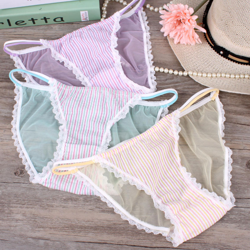 Small sweet Tong through elastic gauze underpants sexy japanese girls underwear briefs low permeability   panties   kawaii knickers