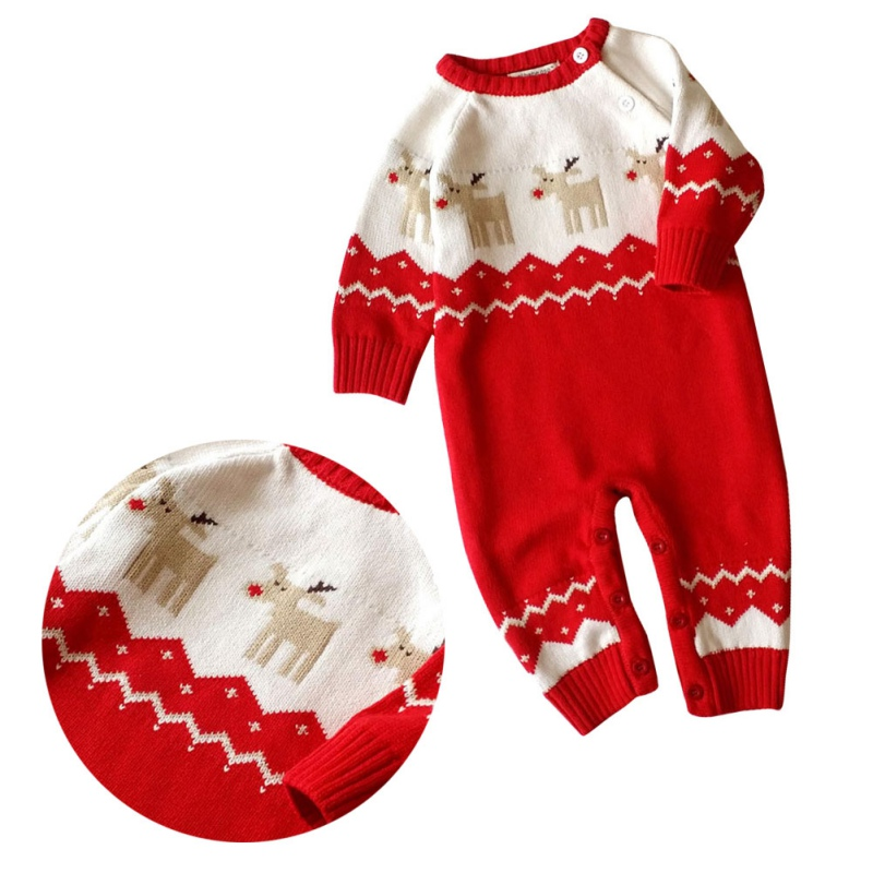 Baby Girls Boys Winter Autumn Warm Long Sleeve Rompers With Hat Newborn Baby Christmas Knitted Clothes Deer Pattern Rompers