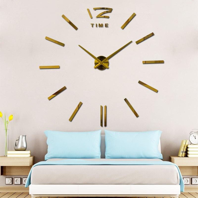 Bricolage 3D mur arrivée Quartz horloges montre horloge murale Guess montre mécanisme miroir autocollant salon Relogio Parede décor WZH531