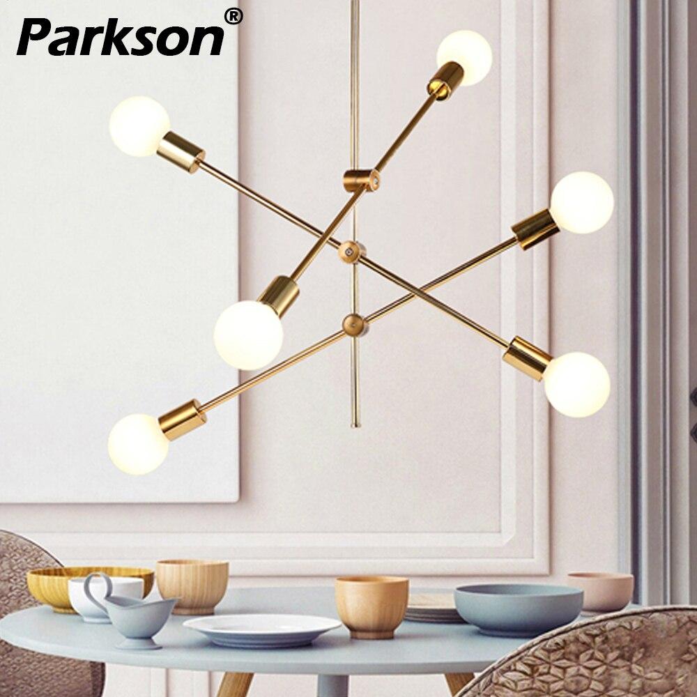 Candelabro levou moderna iluminação e27 nordic simples preto/ouro sala de jantar restaurante lustres cristal pendentes para sala de jantar