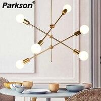 modern led chandelier lighting e27 simple nordic black/gold dining room restaurant lustres cristal pendentes para sala de jantar