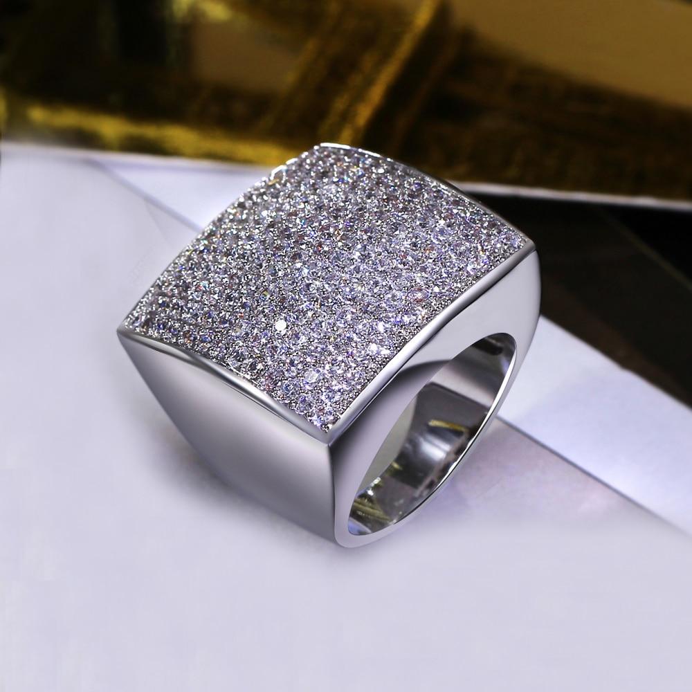 Forma quadrada única grande anel de jóias de alta qualidade Classic - Bijuterias - Foto 3