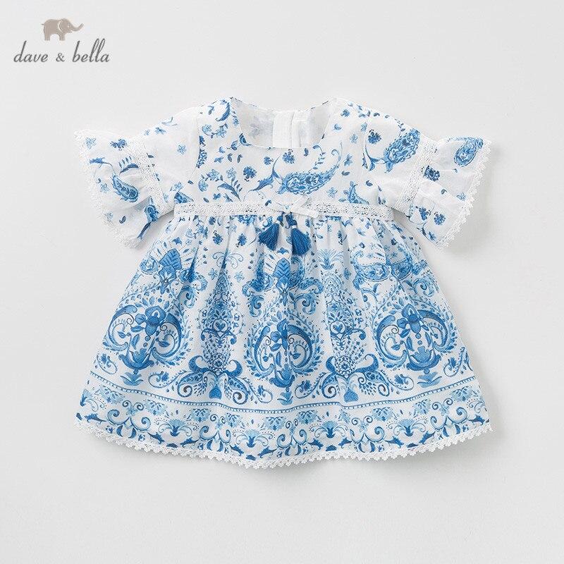 DB10487 dave bella été bébé fille robe de princesse mode style chinois imprimer enfants robe de soirée enfants infantile lolita vêtements
