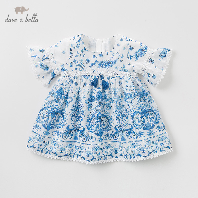 DB10487 デイブベラ夏女の赤ちゃんのプリンセスドレスファッション中国風のプリント子供パーティードレス子供幼児ロリータ服  グループ上の ママ & キッズ からの ドレス の中 1