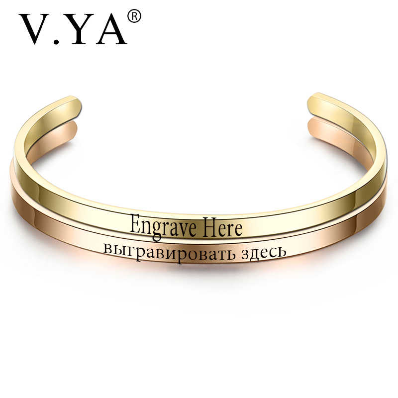 V.YA Fashion Simple Engraved Bracelet For Men & Women Customized Bangle Rose Gold/Gold/ Silver Stainless Steel For Friends Gift