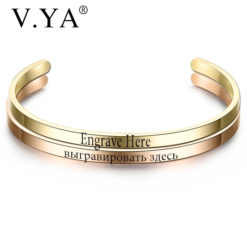 V.YA Fashion Simple Engraved Bracelet For Men & Women Customized Bangle Rose Gold/Gold/ Silver Stainless Steel For Friends Gift