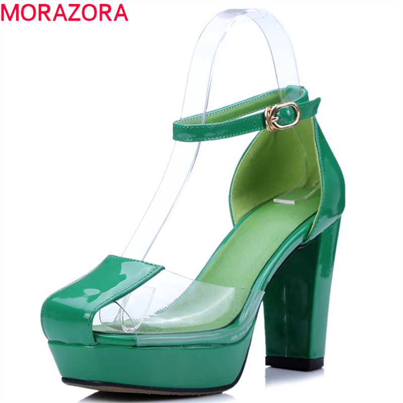 MORAZORA 2019 newest gladiator sandals women patent leather shoes buckle transparent sandals woman party prom high