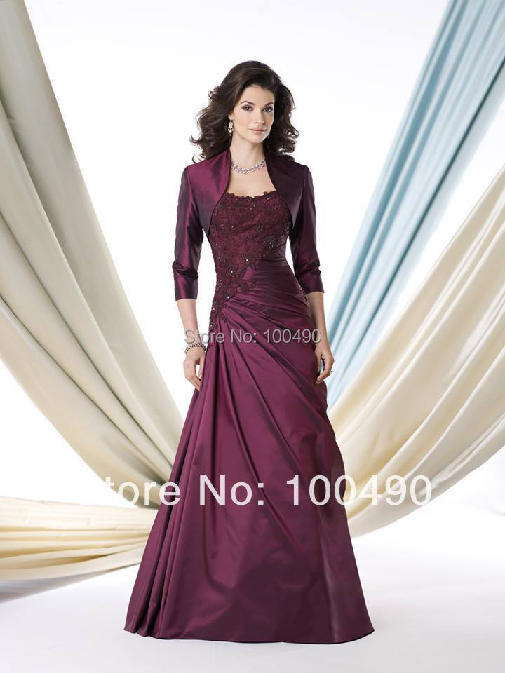 Plus Size Burgundy Taffeta Long Mother Of The Bride