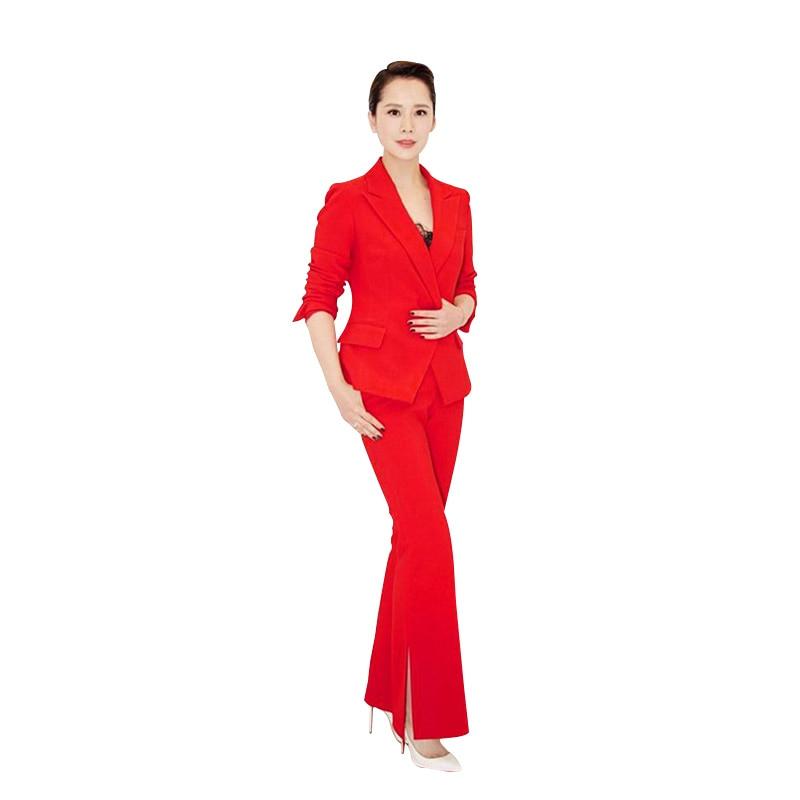 Pak pak vrouwelijke mode Slanke dames Xiaoxiangfeng split hoge kwaliteit bell broek professionele dragen twee stuk blazer set - 4