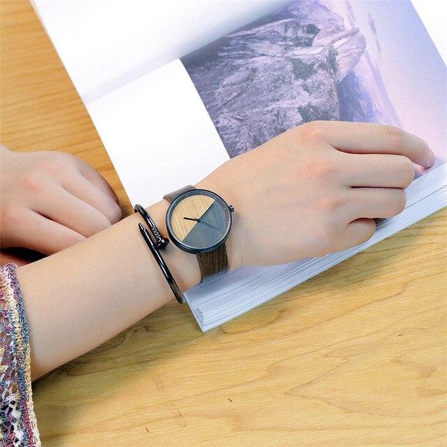Vansvar Brand Women Wood Watch Luxury Imitation Wooden Watch Vintage Leather Quartz Wood Color Watch Female Simple Clock Hot 4