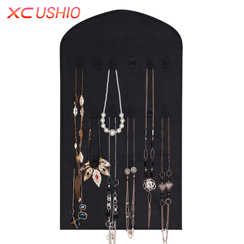 XC USHIO Dual Sided Jewelry Hanging Storage Bag 32 Pockets Earrings Necklace Holder Stor ...