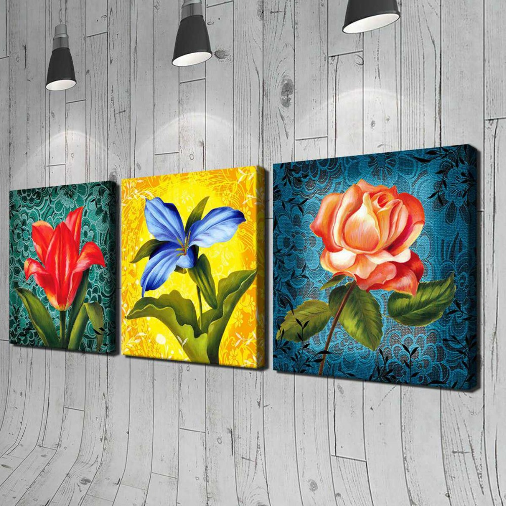 frameless 3 pcs flower printed painting oil painting wall art oil painting on canvas home. Black Bedroom Furniture Sets. Home Design Ideas