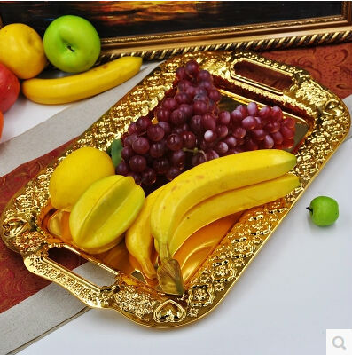 46cm 28cm large size embossed metal serving tray storage tray silver gold fruit plate wedding tray decoration ft011 - Decorative Serving Trays