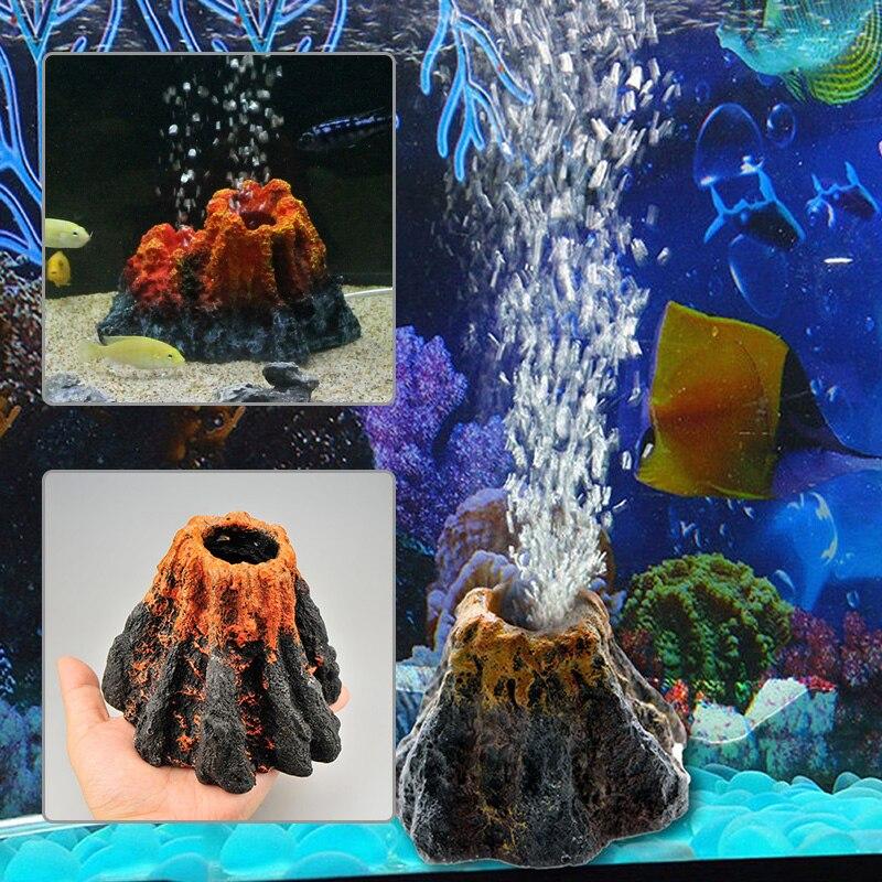 Air Pumpair Simulatie Bubble Steen Aquarium Vulkaan Vorm Decoratie Speelgoed Aquarium Ornament Hars Ornament Zuurstof Pomp Koel In De Zomer En Warm In De Winter