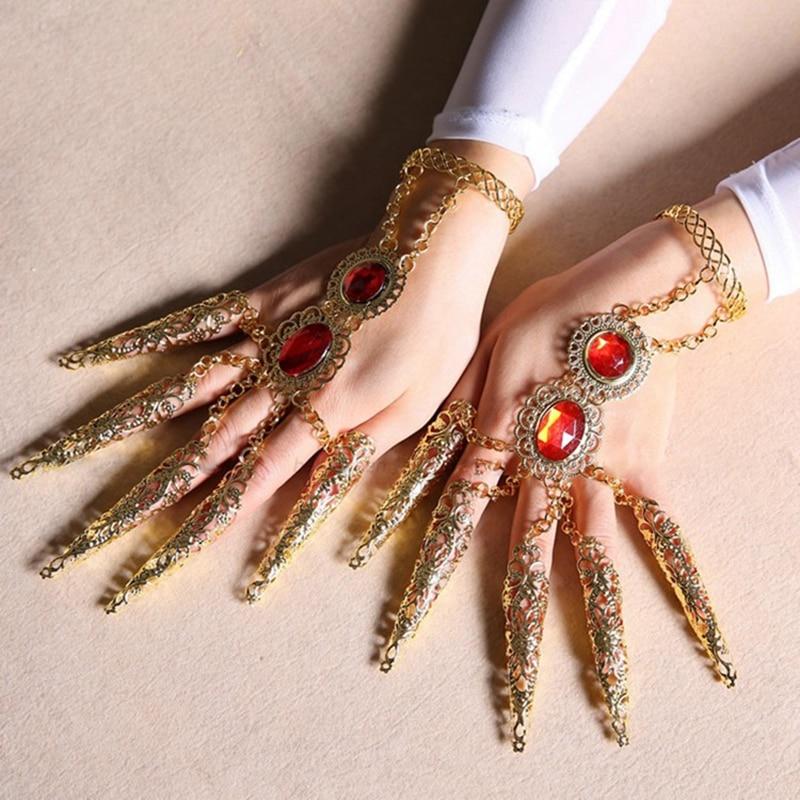 Children India Dancewear Thousands Hands Bollywood Fingernail Accessories Dance Bracelets Gold Indian Jewelry Bracelets For Kids