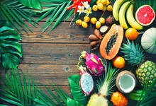 Laeacco Wooden Board Pineapple Banana Fruits Leaves Photography Backgrounds Customized Photographic Backdrop For Photo Studio