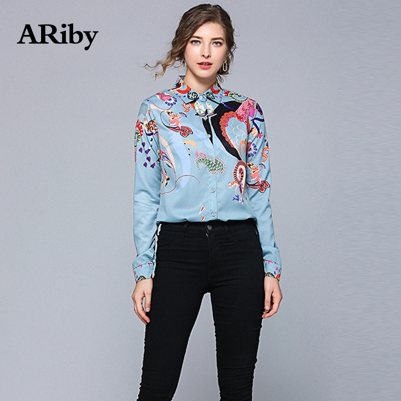 ARiby Women Blue Fashion Printed Shirts 2019 New Spring Office Lady Long Sleeved Turn-down Collar Top and Blouses