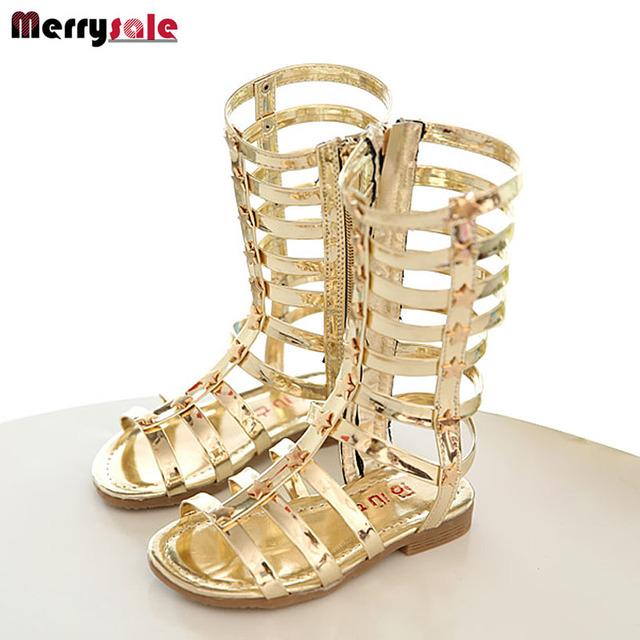 2017 niño femenino sandalias de la princesa zapatos altos zapatos del recorte gladiador botas de niña, botas de sandalias de moda