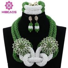 Charming White/Green Women Costume African Wedding Jewelry Set Luxury Bridal Jewelry Set Beads Accessory Free Shipping HX742