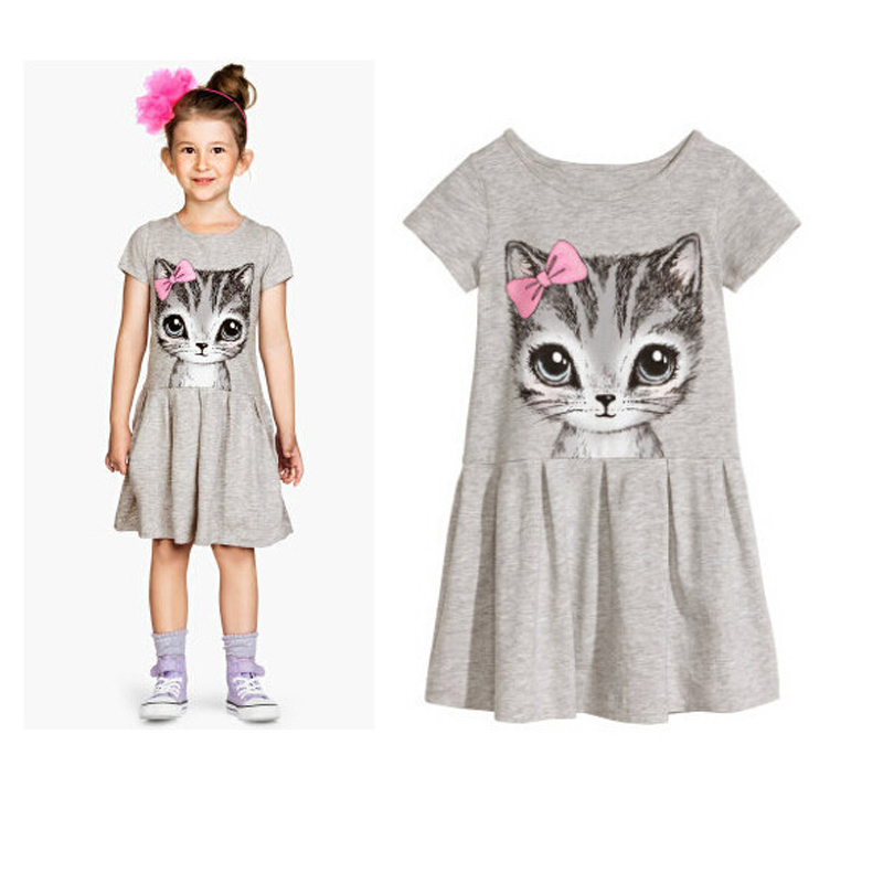 2017 summer Hot clothes girl dress bow cat print grey baby girl dress children clothing children dress 0-9years free shipping