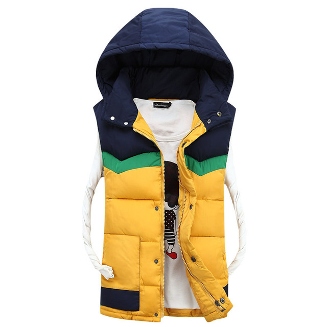 New Mens Jacket Sleeveless Vest Zipper placket Winter Fashion Casual Coats Male Hooded Cotton-Padded Men's Vest men Waistcoat