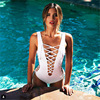 2017 White Deep V Bandage Swimwear One Piece Swimsuit Women Cut Out Bathing Suit Strappy Monokini
