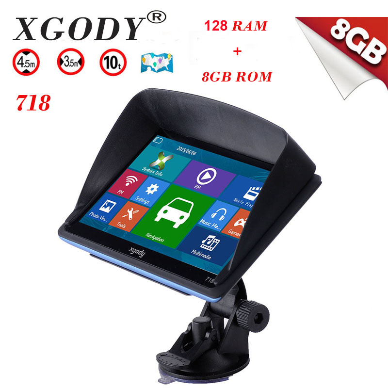 XGODY 718 7 inch Car Truck GPS Navigation 128M 8GB 7 Navigator Navitel SAT NAV SYSTEM FM/MP3 Europe Ukraine Free Maps Sunshade car mp5 player bluetooth hd 2 din 7 inch touch screen with gps navigation rear view camera auto fm radio autoradio ios