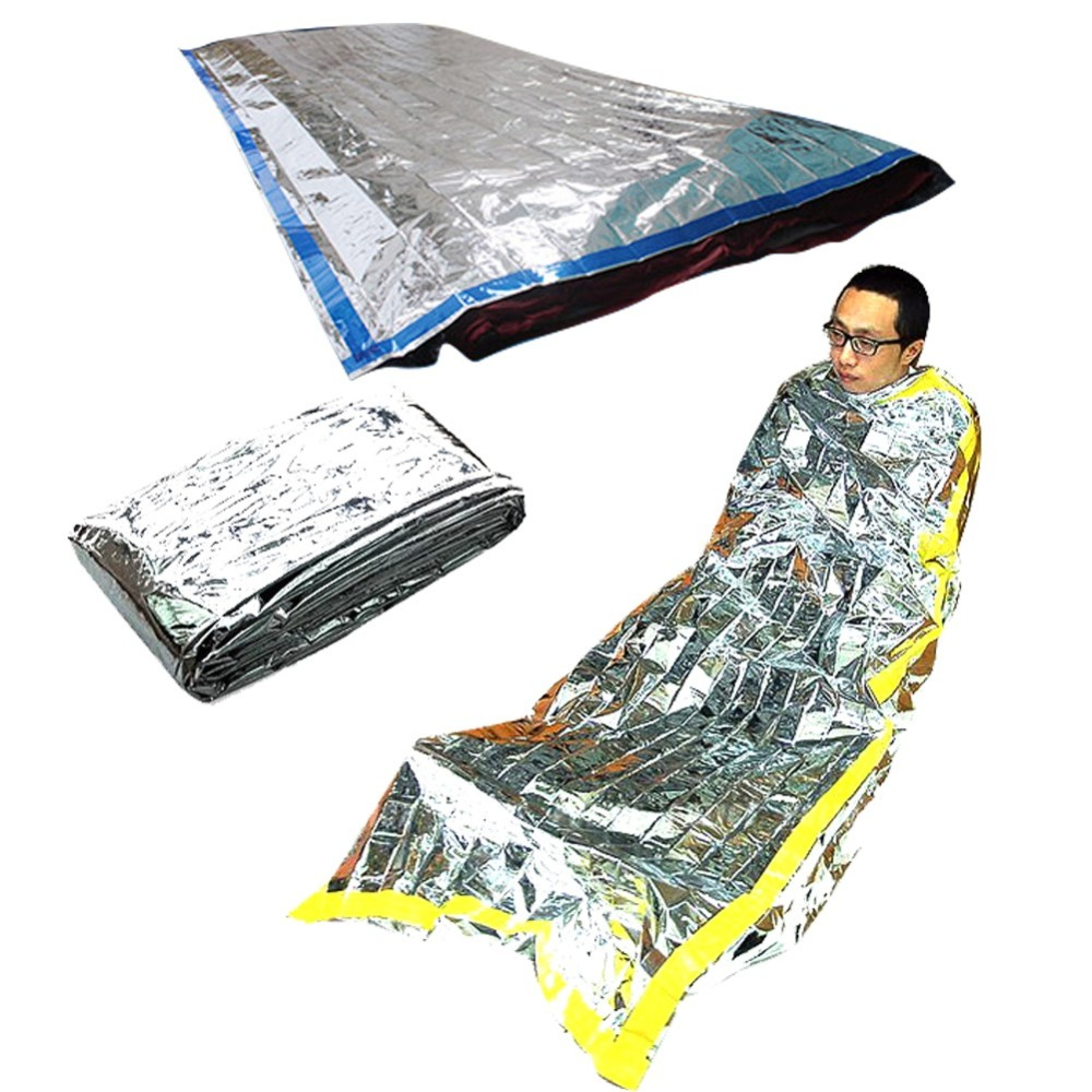 1*2m Good Deal Reusable Emergency Waterproof Survival Silver Foil Camping Sleeping Bag Sports & Entertainment