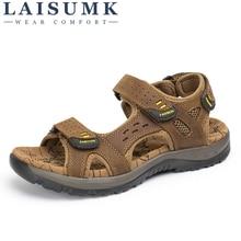 LAISUMK Hot Sale Fashion Summer Leisure Beach Men Shoes High Quality Genuine Leather Sandals Big Yards Men's Sandals Size 38-45 все цены