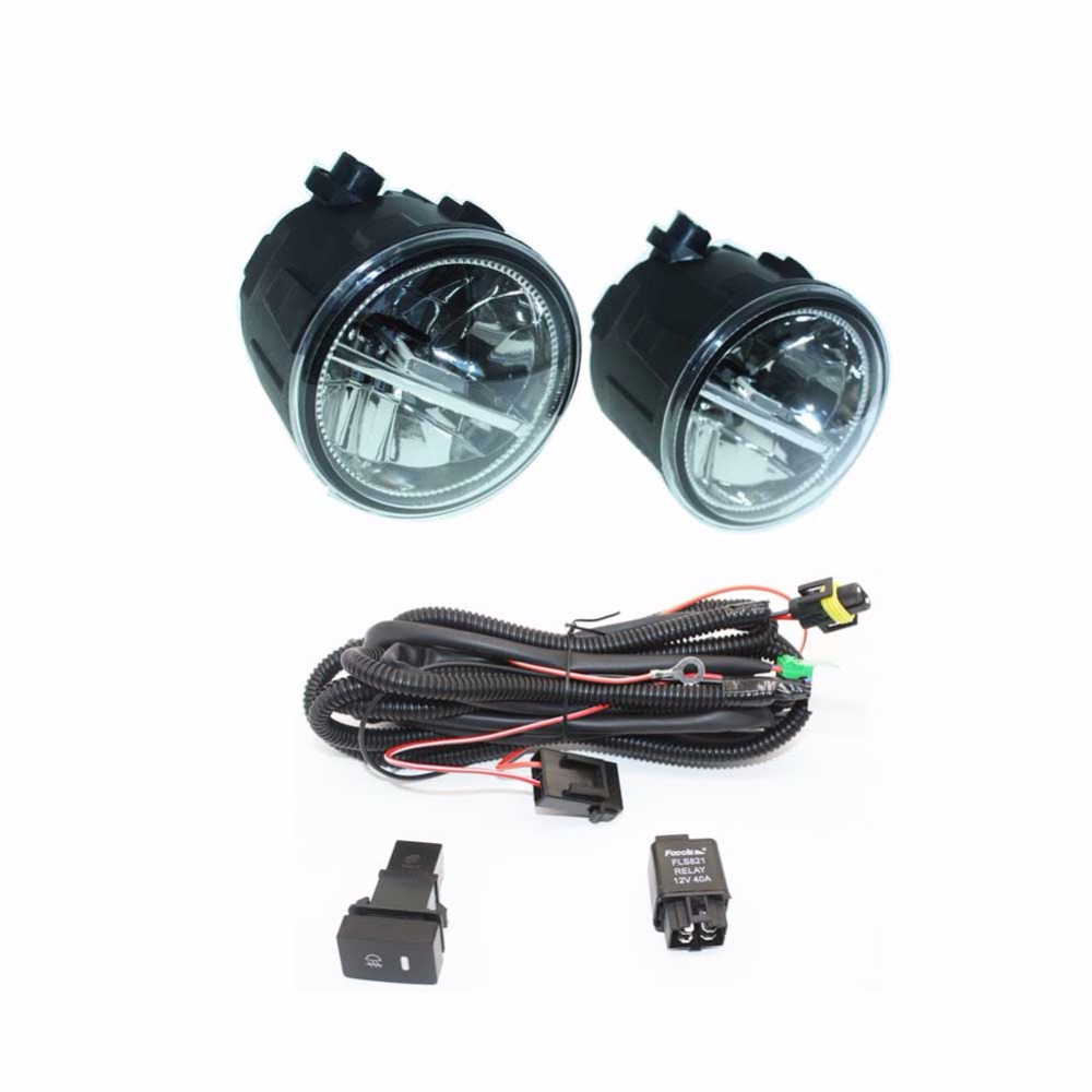 For NISSAN X-Trail T31 Closed 07-14 H11 Wiring Harness Sockets Wire Connector Switch + 2 Fog Lights DRL Front Bumper LED Lamp for subaru outback 2010 2012 h11 wiring harness sockets wire connector switch 2 fog lights drl front bumper 5d lens led lamp