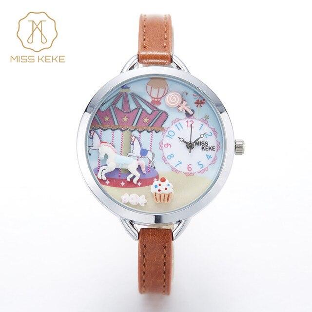 23d6aa7899e 2016 nova MISS KEKE argila bonito 3D mini mundo Pulseira meninas das  crianças assistir crianças Relogio feminino relógios de Pulso de couro Das  Mulheres 910