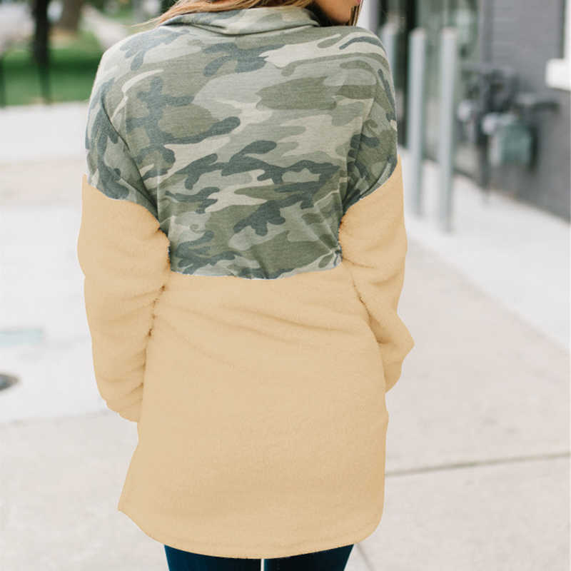 Camicia a Maniche lunghe per Le Donne di Modo di Autunno Inverno Manica Lunga Top Peluche Camouflage Colorblock Zipper Decor Turn-giù il Collare top