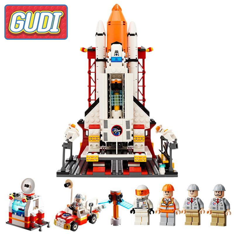 GUDI Aerospace Series Airplane Space Shuttle Center Action Model Building Blocks Sets DIY Toys For Children Gifts