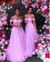 2019 сексуальное платье для невесты розовый с плеча Тюль Свадебная вечеринка платье кружевной аппликацией vestido de festa