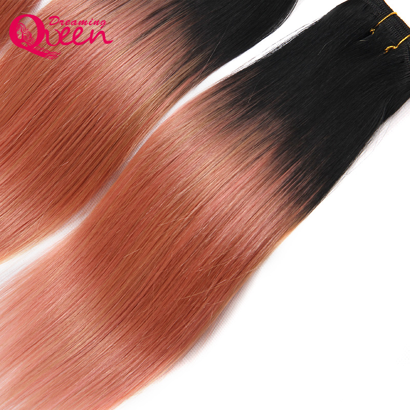 3 Bundles Rose Gold Color Brazil Straight Man Hair Pieces Pieces Remy - Rambut manusia (untuk hitam) - Foto 6