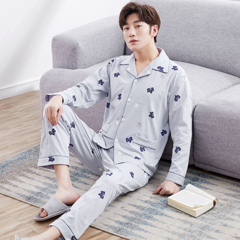 100% Cotton Cardigan Pajama Sets For Men 2018 Autumn Winter Long Sleeve Print Pyjama Sleepwear Male Lounge Homewear Home Clothes
