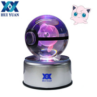 Jigglypuff 3D 8CM Crystal ball Rotary Base USB Glass Ball Engraving Round With Black Line Ball LED Colorful Base Child's gift