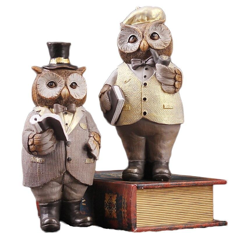 Créatif américain Gentleman hibou Miniature résine de bureau artisanat ornements mignon hibou Figurine décoration de la maison accessoires cadeau
