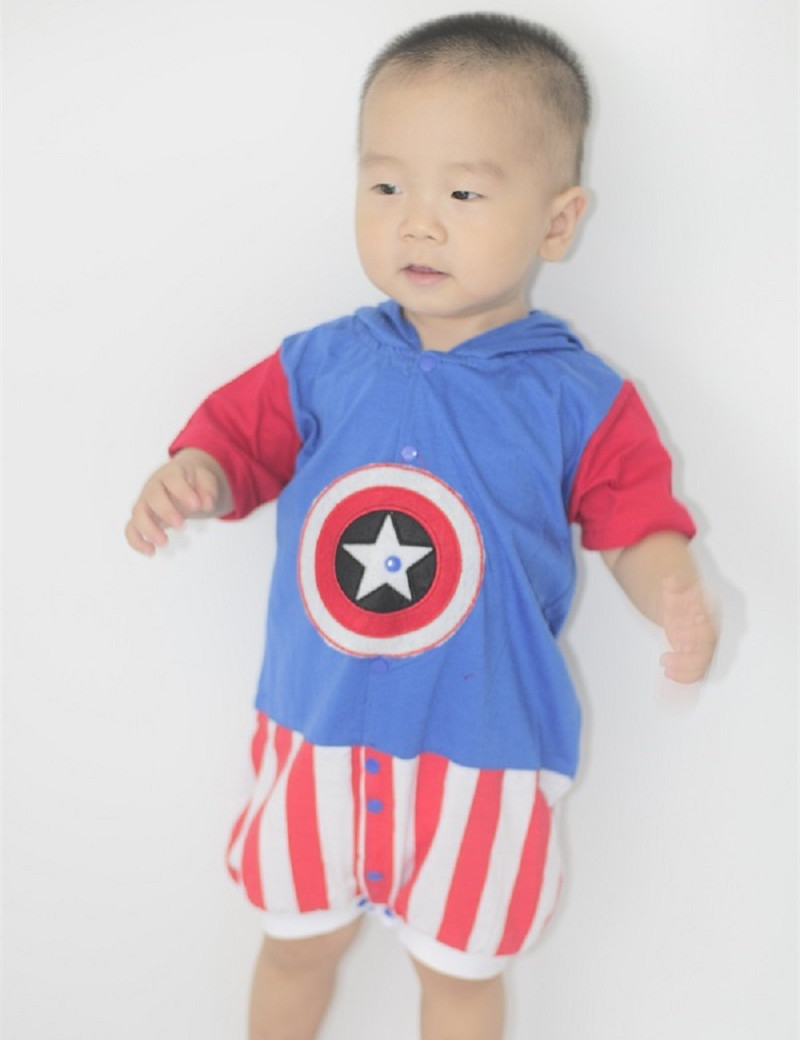 Baby Captain America Costume Halloween Costume Infant Baby Romper/Jumpsuit Baby Boys Girls One Piece Pajamas Hooded Sleepwear