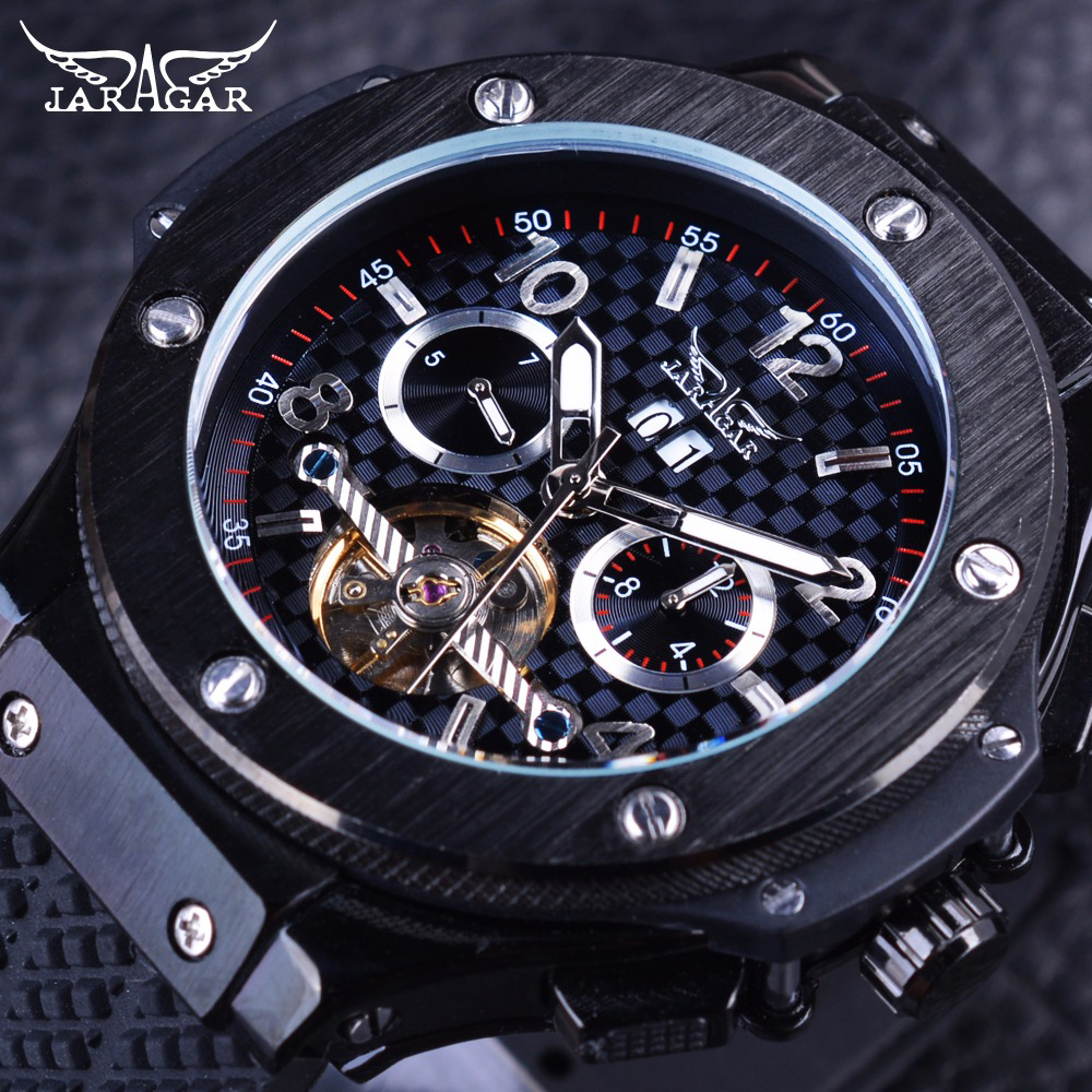 Jaragar Racing Tourbillion Design Sport Rubber Band Military Fashion Kalender Mens Automatische Uhren Top Marke Luxus Mechanische